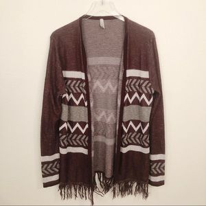 Vanity Cardigan Burgundy with Fringe Sz XL
